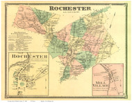Rochester Town, Rochester Village and Mill Village, Vermont 1869 Old Town Map Reprint - Windsor Co.