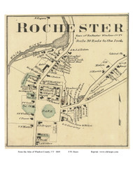 Rochester Village (Custom), Vermont 1869 Old Town Map Reprint - Windsor Co.