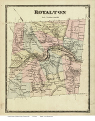 Royalton, Vermont 1869 Old Town Map Reprint - Windsor Co.