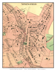 Springfield Downtown Closeup (Custom), Vermont 1869 Old Town Map Reprint - Windsor Co.