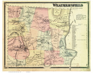 Weathersfield, Vermont 1869 Old Town Map Reprint - Windsor Co.