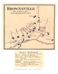 Brownsville Village (Custom) - West Windsor, Vermont 1869 Old Town Map Reprint - Windsor Co.