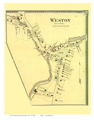 Weston Village (Custom), Vermont 1869 Old Town Map Reprint - Windsor Co.