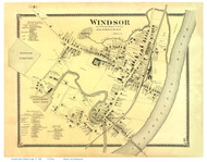 Windsor Village (Custom), Vermont 1869 Old Town Map Reprint - Windsor Co.