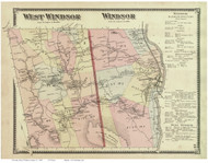 Windsor and West Windsor, Vermont 1869 Old Town Map Reprint - Windsor Co.