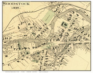 Woodstock Downtown Closeup (Custom), Vermont 1869 Old Town Map Reprint - Windsor Co.