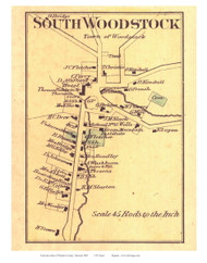 South Woodstock Village (Custom) - Woodstock, Vermont 1869 Old Town Map Reprint - Windsor Co.