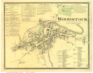 Woodstock Village, Vermont 1869 Old Town Map Reprint - Windsor Co.