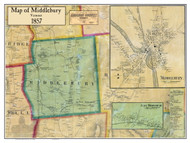 Middlebury Poster, Vermont 1857 Old Town Map Custom Print - Addison Co.