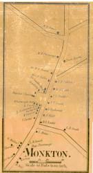 Monkton Village, Vermont 1857 Old Town Map Custom Print - Addison Co.