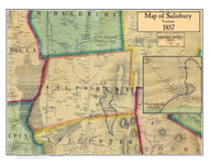 Salisbury Poster, Vermont 1857 Old Town Map Custom Print - Addison Co.