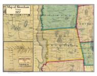 Shoreham Poster, Vermont 1857 Old Town Map Custom Print - Addison Co.