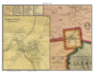 Vergennes Poster, Vermont 1857 Old Town Map Custom Print - Addison Co.