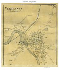 Vergennes Village, Vermont 1857 Old Town Map Custom Print - Addison Co.
