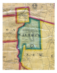 Waltham, Vermont 1857 Old Town Map Custom Print - Addison Co.