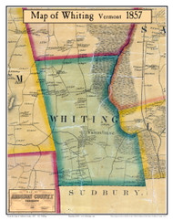 Whiting, Vermont 1857 Old Town Map Custom Print - Addison Co.