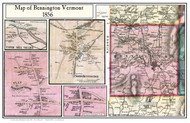 Bennington Poster, Vermont 1856 Old Town Map Custom Print - Bennington Co.