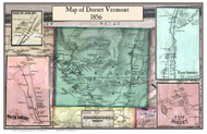 Dorset Poster, Vermont 1856 Old Town Map Custom Print - Bennington Co.