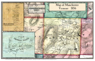 Manchester Poster, Vermont 1856 Old Town Map Custom Print - Bennington Co.