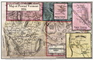 Pownal Poster, Vermont 1856 Old Town Map Custom Print - Bennington Co.