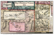 Readsboro Poster, Vermont 1856 Old Town Map Custom Print - Bennington Co.