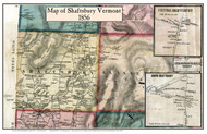Shaftsbury Poster, Vermont 1856 Old Town Map Custom Print - Bennington Co.
