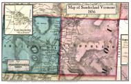 Sunderland Poster, Vermont 1856 Old Town Map Custom Print - Bennington Co.