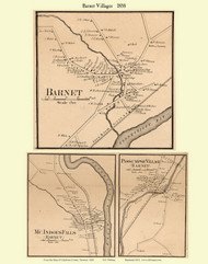 Barnet, McIndoes Falls, and Passumpsic Villages, Vermont 1858 Old Town Map Custom Print - Caledonia Co.