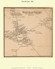 Danville Green, Vermont 1858 Old Town Map Custom Print - Caledonia Co.