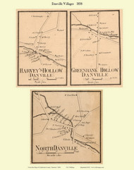 Harvey's Hollow, Greenbank Hollow, and North Danville Villages, Vermont 1858 Old Town Map Custom Print - Caledonia Co.