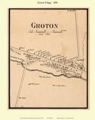 Groton Village, Vermont 1858 Old Town Map Custom Print - Caledonia Co.