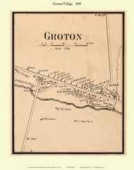 Groton Village, Vermont 1858 Old Town Map Custom Print - Caledonia Co.