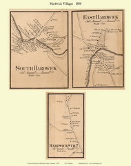 South Harwick and East Harwick Villages, Vermont 1858 Old Town Map Custom Print - Caledonia Co.