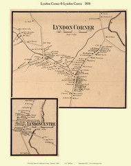 Lyndon Corner and Lyndon Centre Villages, Vermont 1858 Old Town Map Custom Print - Caledonia Co.