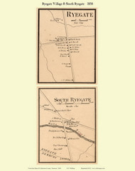 Ryegate and South Ryegate Villages, Vermont 1858 Old Town Map Custom Print - Caledonia Co.