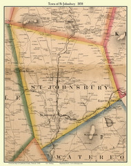St. Johnsbury, Vermont 1858 Old Town Map Custom Print - Caledonia Co.