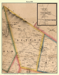 Sutton & Sutton Corner Village, Vermont 1858 Old Town Map Custom Print - Caledonia Co.