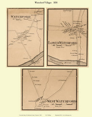 Waterford, Lower Waterford, and West Waterford Villages, Vermont 1858 Old Town Map Custom Print - Caledonia Co.