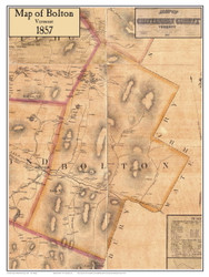 Bolton Poster Map, 1857 Old Town Map Custom Print - Chittenden Co. VT