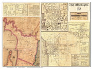 Burlington Poster Map, 1857 Old Town Map Custom Print - Chittenden Co. VT