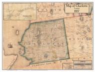Charlotte Poster Map, 1857 Old Town Map Custom Print - Chittenden Co. VT