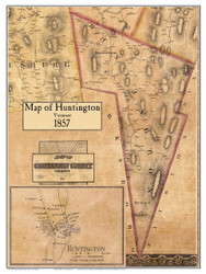 Huntington Poster Map, 1857 Old Town Map Custom Print - Chittenden Co. VT