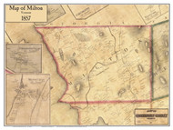 Milton Poster Map, 1857 Old Town Map Custom Print - Chittenden Co. VT