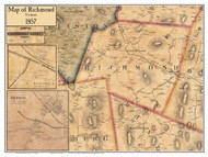 Richmond Poster Map, 1857 Old Town Map Custom Print - Chittenden Co. VT
