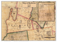 Shelburne Poster Map, 1857 Old Town Map Custom Print - Chittenden Co. VT