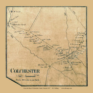Colchester Village, Vermont 1857 Old Town Map Custom Print - Chittenden Co.