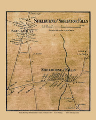 Shelburne and Shelburne Falls Villages, Vermont 1857 Old Town Map Custom Print - Chittenden Co.