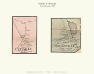 Pethville and Snowsville Villages, Vermont 1858 Old Town Map Custom Print - Orange Co.
