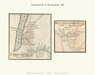 North Brookfield and West Brookfield Villages, Vermont 1858 Old Town Map Custom Print - Orange Co.