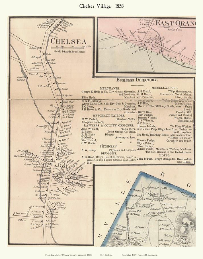 Chelsea Village, Vermont 1858 Old Town Map Custom Print - Orange Co on